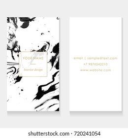 Set of Business card template set. Elegant, abstract branding with marble texture and golden frame with place for text. Vector design for decorators, artists, fashion bloggers, stylists