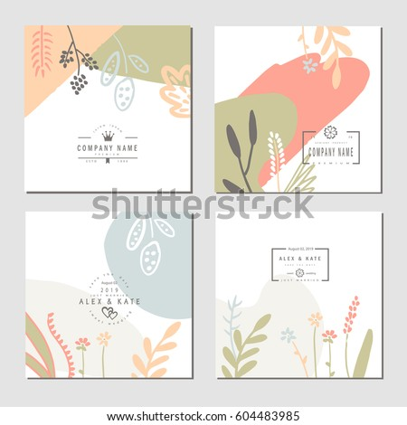 set business card template wedding flyers stock vector royalty free