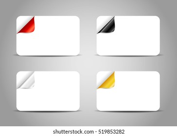 Set of business card templates with curled colorful corner. Vector illustration