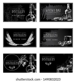 Set of business card templates for the whisky related businesses. Black and white sketch imitating chalk drawing on a blackboard. EPS10 vector illustration.
