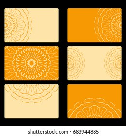 Set business card. Vector mandala decor. arabic, indian, ottoman motifs. for invitation, flyer, card. orange color