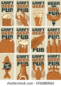 Set of business cards for the beer pub. Advertising banners on the theme of craft beer and snacks from seafood with inscriptions in grunge style. Flat vector illustrations