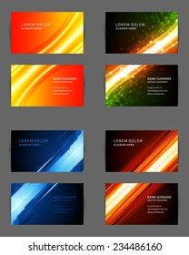Set of Business Cards Design Vector Template Geometric Lines and Lights Abstract Backgrounds