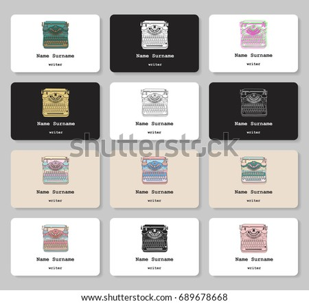 Set Business Cards Hand Drawn Vintage Stock Vector Royalty Free