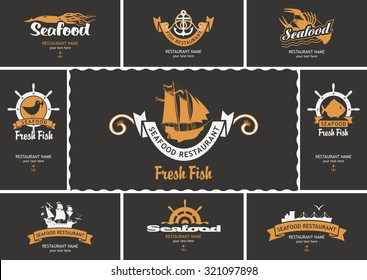 set of business cards with logos on the theme of seafood