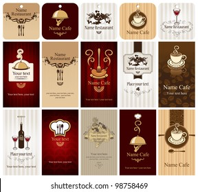set of business cards on food and drink