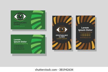 Set of business cards for ophthalmic clinic or eye clinic. Set. Ophthalmology. Donation retina. World glaucoma day