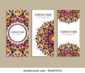Set of business cards. Template of cover design color pattern. Colored vector illustration for corporate identity, individual cards, form style.