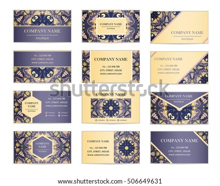 set business cards template cover design stock vector royalty free