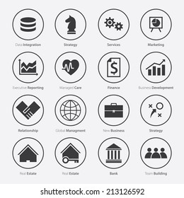 Set of Business Career Icon in Flat Design, Minimal Style, Vector, Monochrome