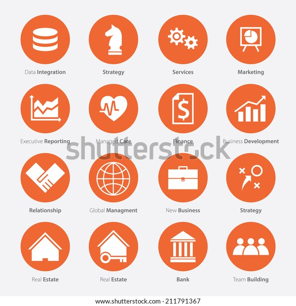 Set Business Career Icon Flat Design Stock Vector Royalty Free 211791367