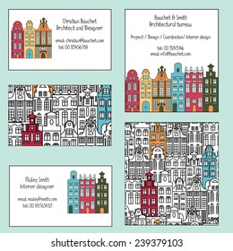 Set of business carts with colorful multistage buildings in old European style. Suitable for architects, designers and other. Vector illustration.