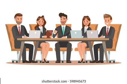 Set of business characters working in office. Vector illustration design