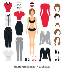 Set of business clothes for women. Woman in office . Flat Vector Illustration.