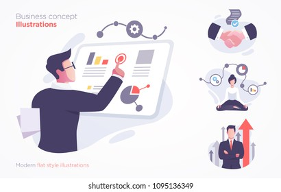 Set of business concept illustration. Modern flat style vector illustration