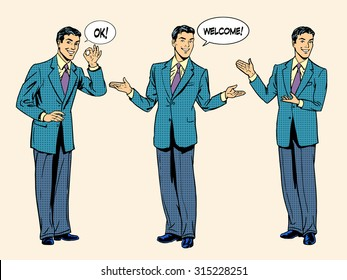 set business concept presentation and show. Businessman hand gestures. Retro style pop art