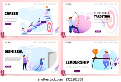 Set of business concept website templates or landing page. Career and leadership.