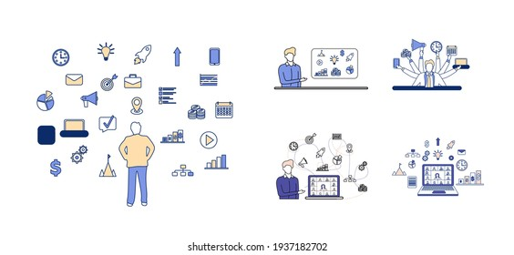 Set of business concepts and videoconferencing illustrations. Business icon set. Leader and businessman concept. Remote work and remote video communication with colleagues. Vector flat illustration