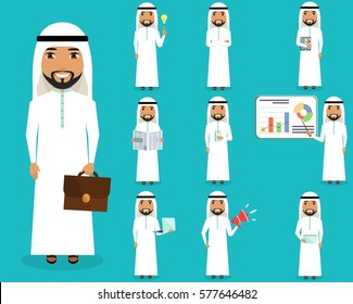 A set of business concepts. Young guy Arab. The nature of office life. Different situational concept.