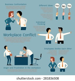 Set of business conflict concept at the workplace, businessman, businesswoman, colleague, team. Flat design.