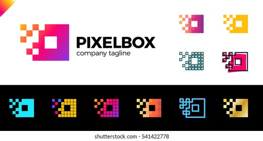 Set of Business corporate colorful letter O logo design vector logotype for technology. Pixel square or box icon