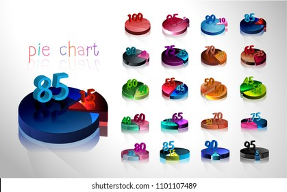 Set of business cycle flow diagrams, pie chart for Your documents, reports, presentations for infographics, 0 5 10 15 20 25 30 35 40 45 50 55 60 65 70 75 80 85 90 95 100 percent. Vector illustration.