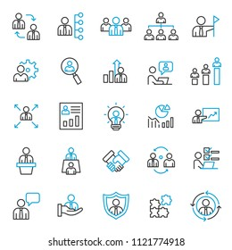 set of business development management icons, with simple black thin line and modern concept, use for web, presentation, pictogram illustration, and infografic assets.