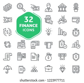 Set of business and finance icons. Outline icons collection. Thin lines web icons set. Flat design. Ui icons