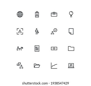 Set of business and finance icons, target, check, presentation, mail, magnifying glass and linear variety vectors.