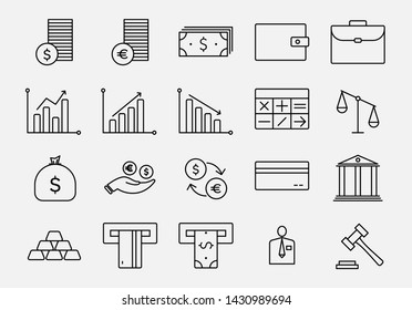 Set of Business and Finance vector line icons. EPS 10