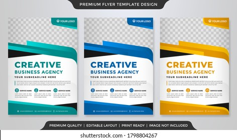 set of business flyer template with minimalist style and clean layout design use for business profile and promotion ads
