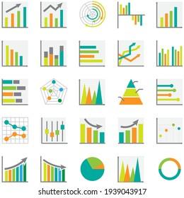 Set of business graph icon, Colors object statistics finance presentation, Flat success symbol vector. 640x640 pixels.