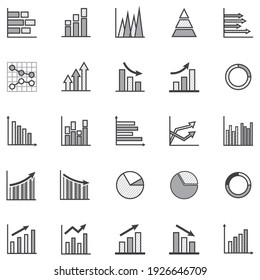 Set of business graph icon,Outline with pattern simple report statistics symbol, Grey color presentation sign vector. 640x640 pixels.