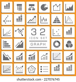 Set of Business Graph icons for web icon collections.