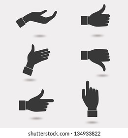 Set of business hand icon in many characters. Can be easy to change color. Vector illustration.