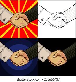 Set of business handshake cartoon hands of two men