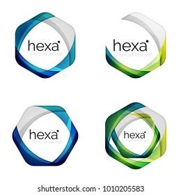 Set of business hexagon vector logo icon templates