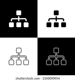 Set Business hierarchy organogram chart infographics icons on black and white background. Corporate organizational structure graphic elements. Line, outline and linear icon. Vector Illustration