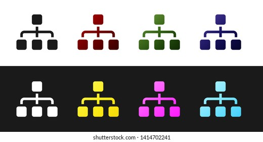 Set Business hierarchy organogram chart infographics icon isolated on black and white background. Corporate organizational structure graphic elements. Vector Illustration