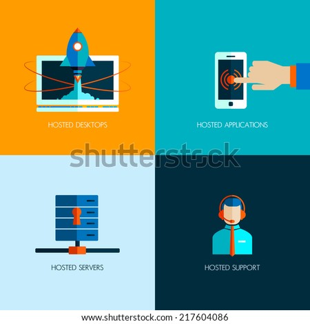 Set Business Icons Flat Design Start Stock Vector Royalty Free