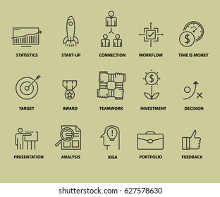 set of business icons. Outline symbol collection. Vector icons