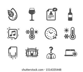 Set of Business icons, such as 24 hours, Recovery file, Arena stadium, Thermometer, Organic product, Bordeaux glass, Wine, Musical note, Resume document, Hiring employees, Notebook service. Vector