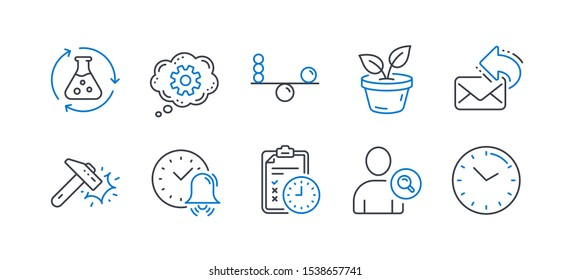 Set of Business icons, such as Balance, Share mail, Alarm bell, Find user, Hammer blow, Exam time, Chemistry experiment, Cogwheel, Leaves, Time line icons. Concentration, New e-mail. Vector