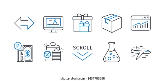 Set of Business icons, such as Chemistry lab, Website statistics, Shopping bags, Scroll down, Delivery boxes, Parcel, Sync, Online video, Parking payment, Airplane line icons. Vector