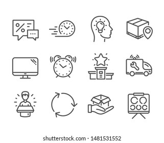 Set of Business icons, such as Computer, Idea head, Parcel tracking, Hold box, Alarm clock, Vision board, Winner podium, Discounts, Fast delivery, Brand ambassador, Car service, Recycling. Vector