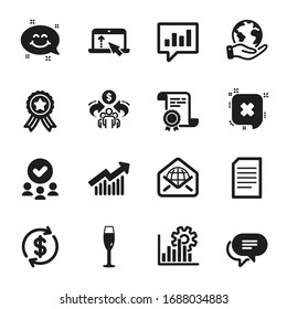 Set of Business icons, such as Dollar exchange, Web mail. Certificate, approved group, save planet. Sharing economy, Demand curve, Analytical chat. Text message, Swipe up, Document. Vector
