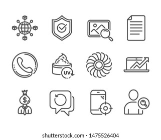 Set of Business icons, such as Fan engine, Sales diagram, Find user, Search photo, Manager, Seo phone, Logistics network, Recovery data, File, Call center, Uv protection, Approved shield. Vector