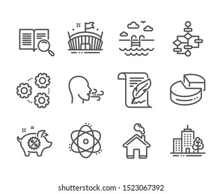 Set of Business icons, such as Gears, Block diagram, Swimming pool, Breathing exercise, Piggy sale, Skyscraper buildings, Home, Search text, Atom, Arena, Pie chart, Feather line icons. Vector