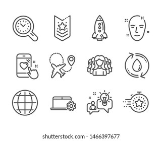 Set of Business icons, such as Globe, Airplane, Heart rating, Idea, Rocket, Timer, Refill water, Shoulder strap, Women group, Time management, Health skin, Notebook service line icons. Vector