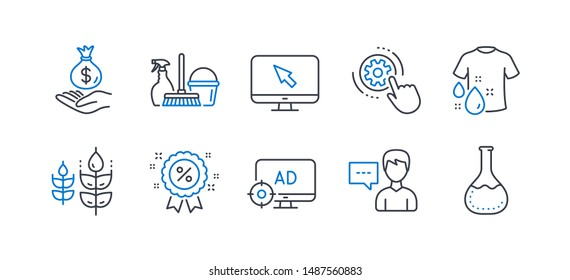 Set of Business icons, such as Internet, Cogwheel settings, Person talk, Discount, Seo adblock, Income money, Wash t-shirt, Gluten free, Household service, Chemistry lab line icons. Vector